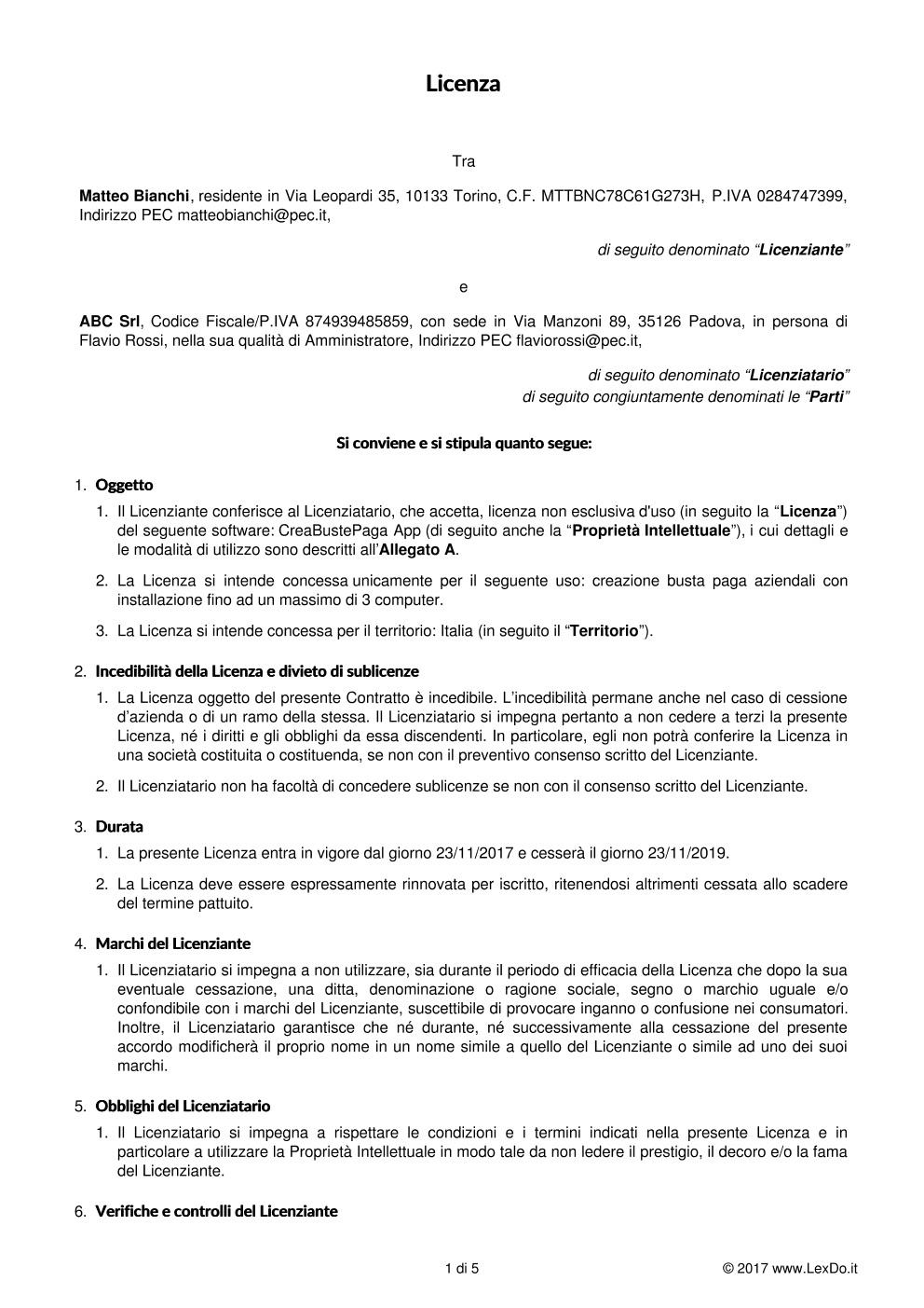 Contratto di Licenza di Software modello