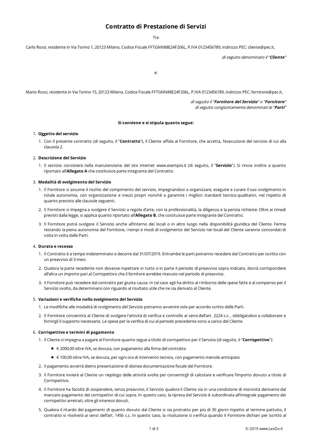 Contratto di Fornitura di Servizio Continuativo modello