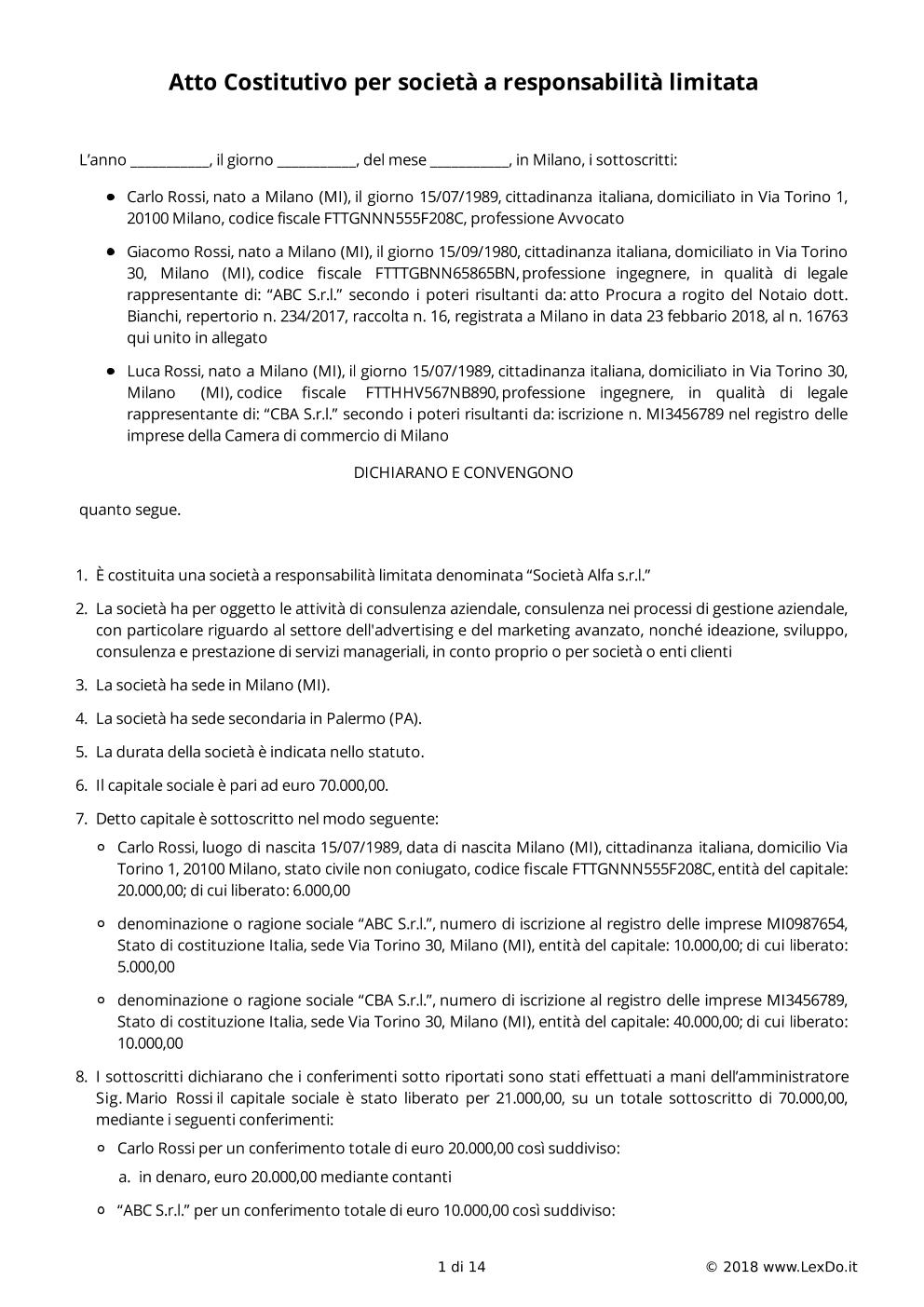 Statuto e Atto Costitutivo Srl modello