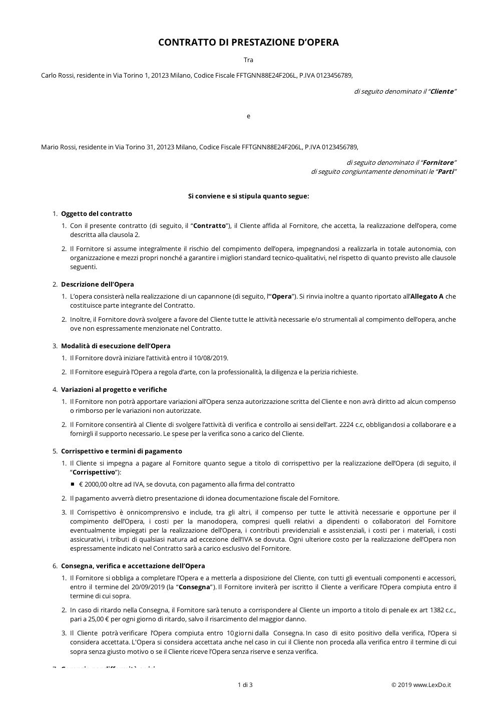 Contratto di Fornitura e Posa in Opera modello