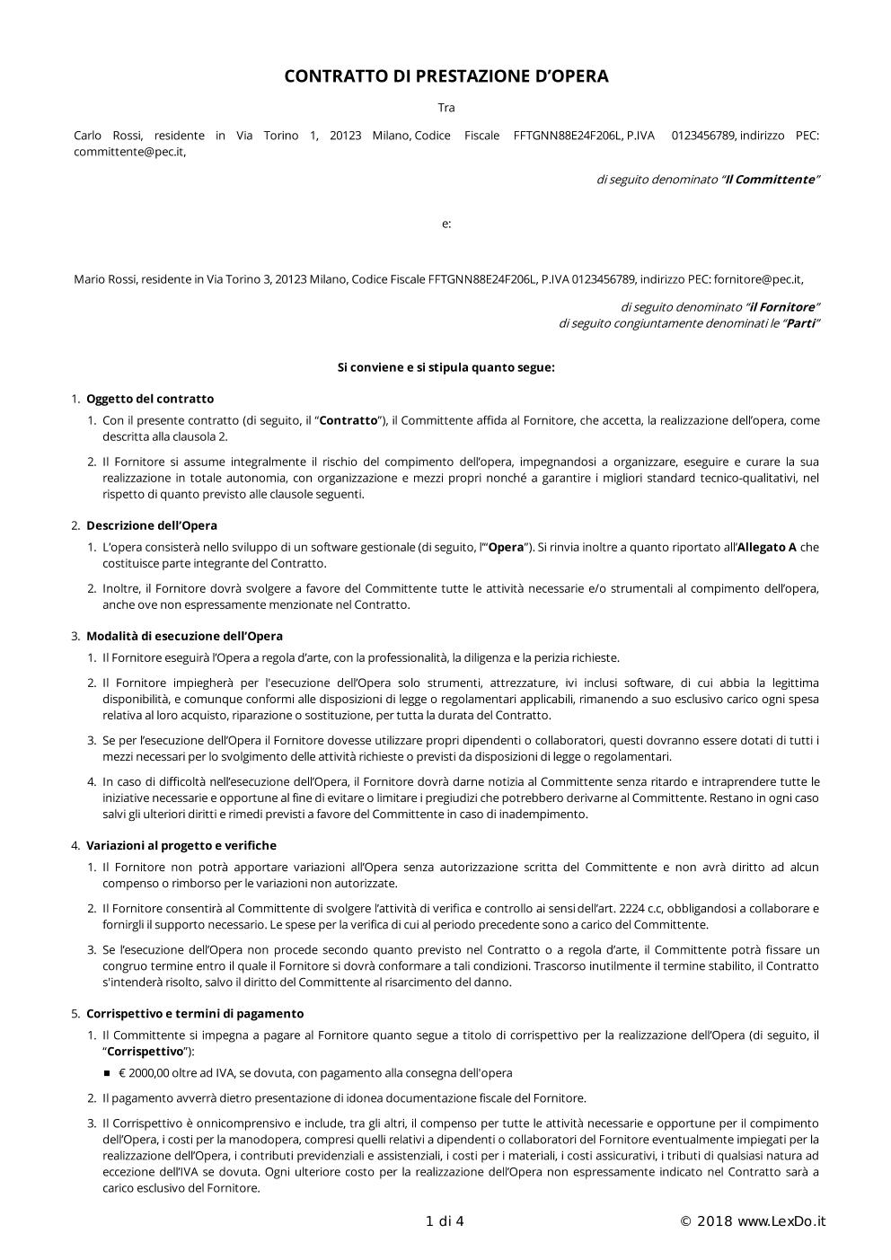 Contratto per Lavoro Autonomo (Freelance) modello