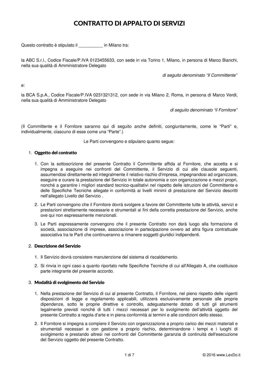 Contratto di fornitura di servizio continuativo for Affitto senza contratto