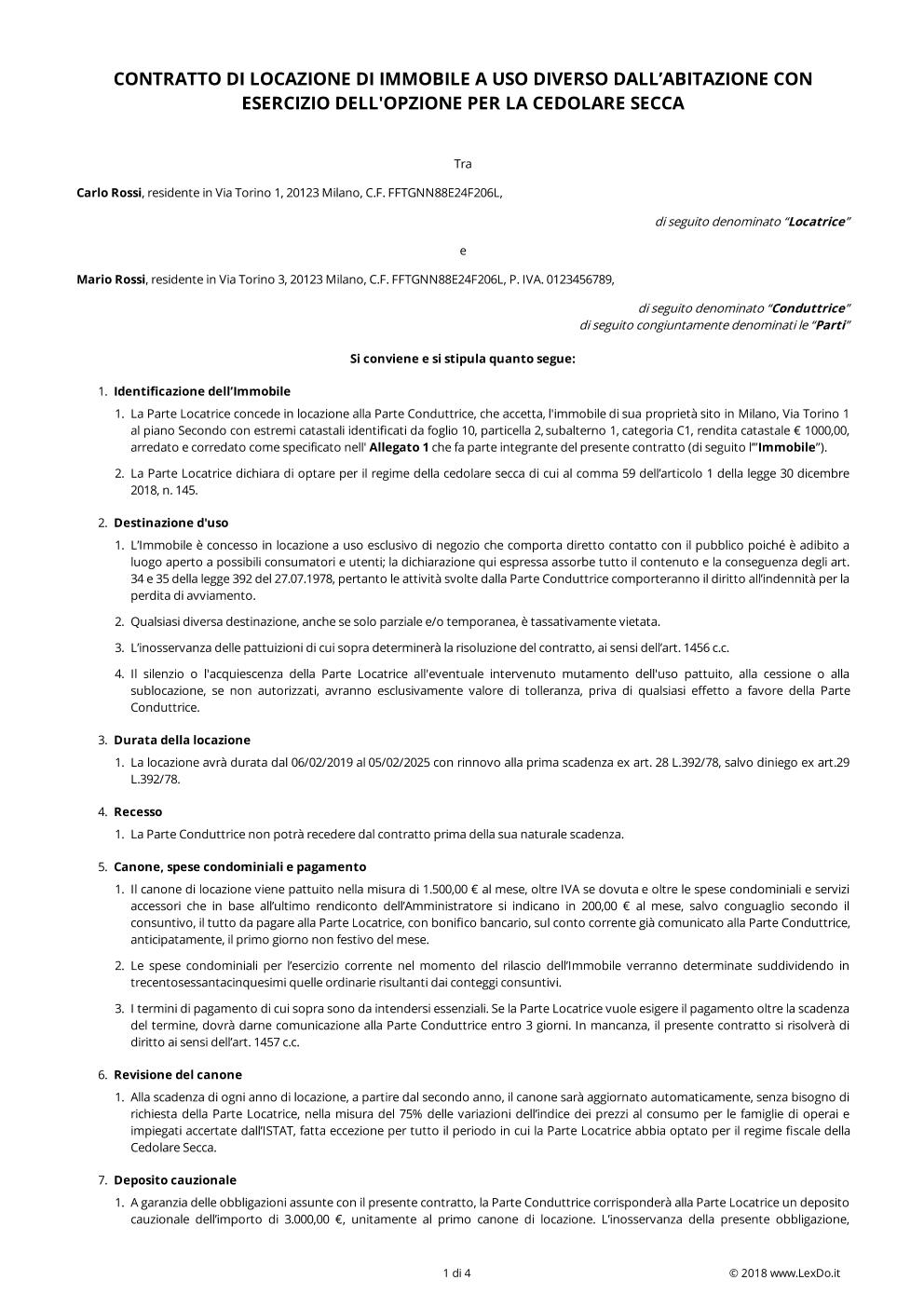 anteprima del nostro Contratto di Locazione Commerciale Transitorio