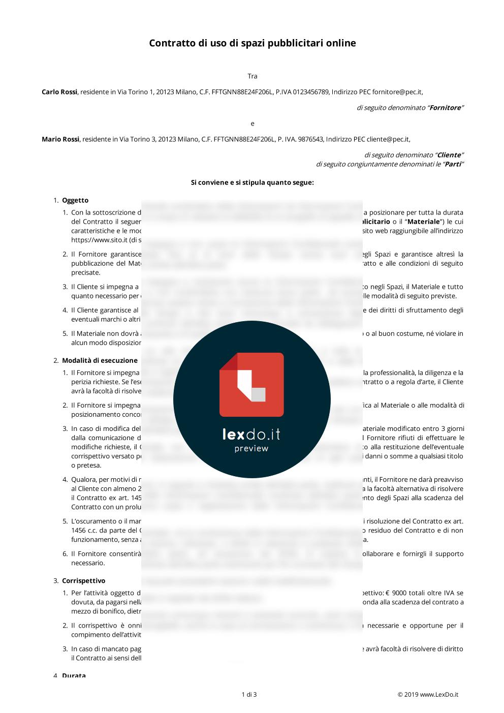 anteprima modello Contratto di Pubblicità