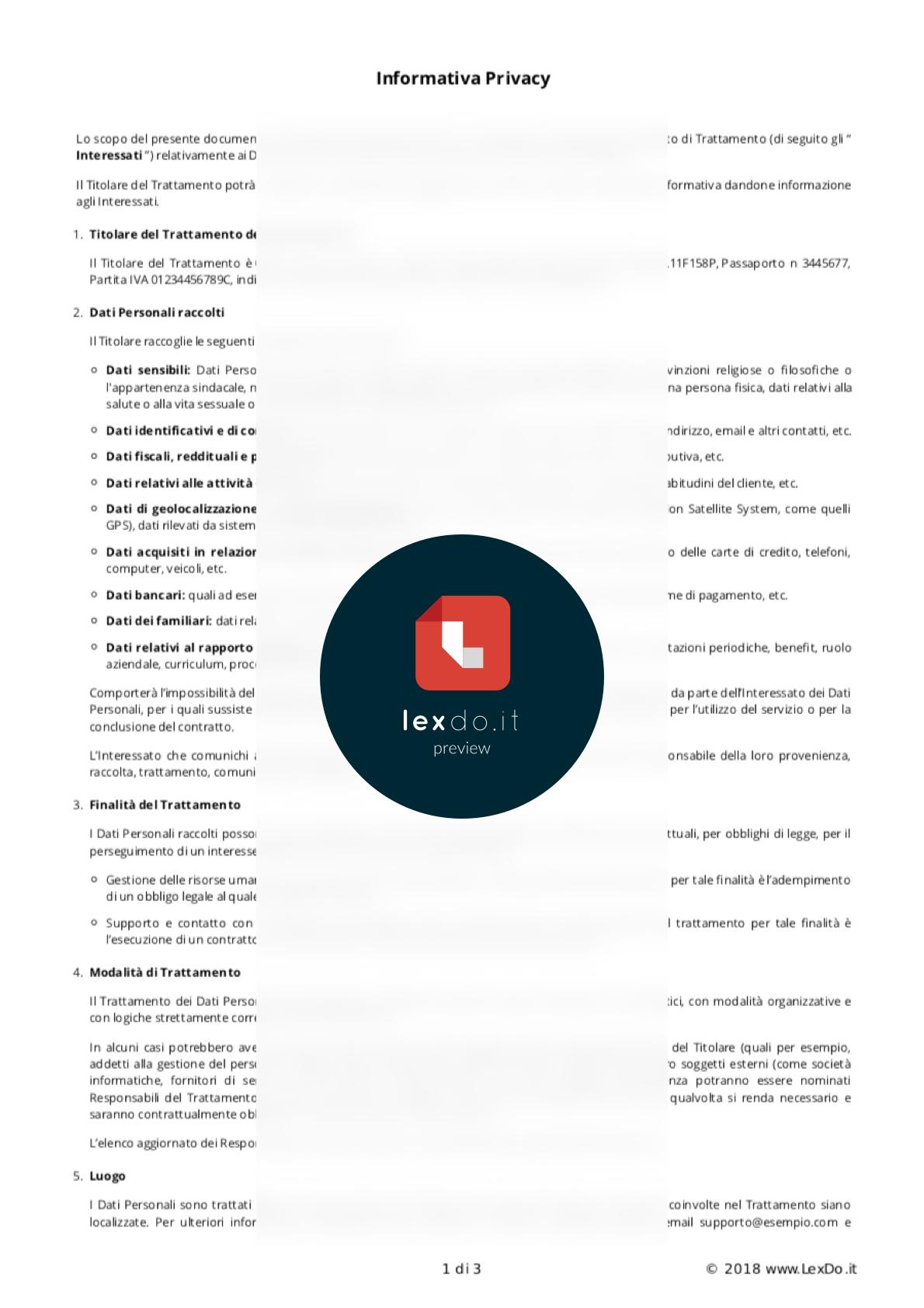 Informativa Privacy per Attività Offline modello