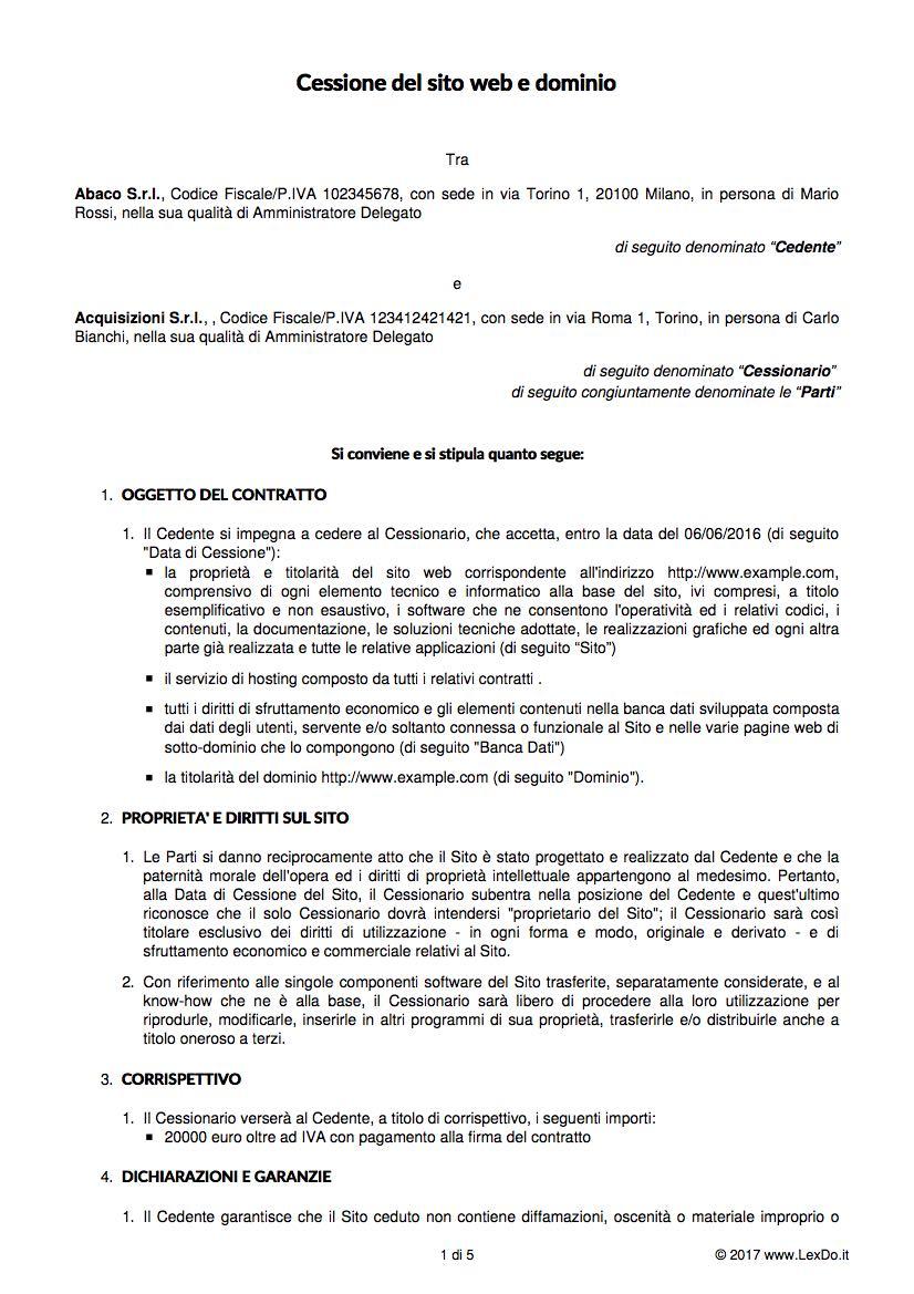 Contratto di Cessione di Sito Web modello