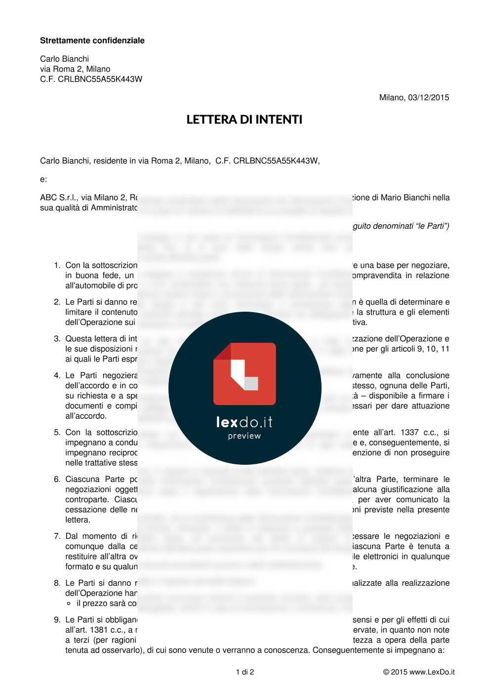 anteprima del nostro Lettera di Intenti (Memorandum of Understanding)