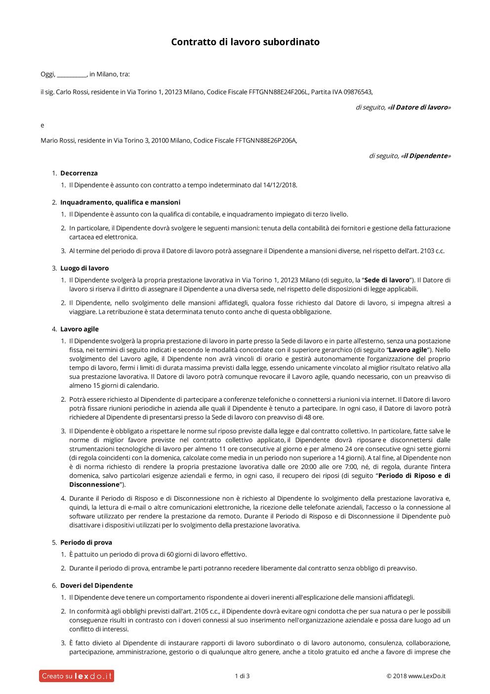 Contratto di Lavoro Subordinato per Dipendenti modello