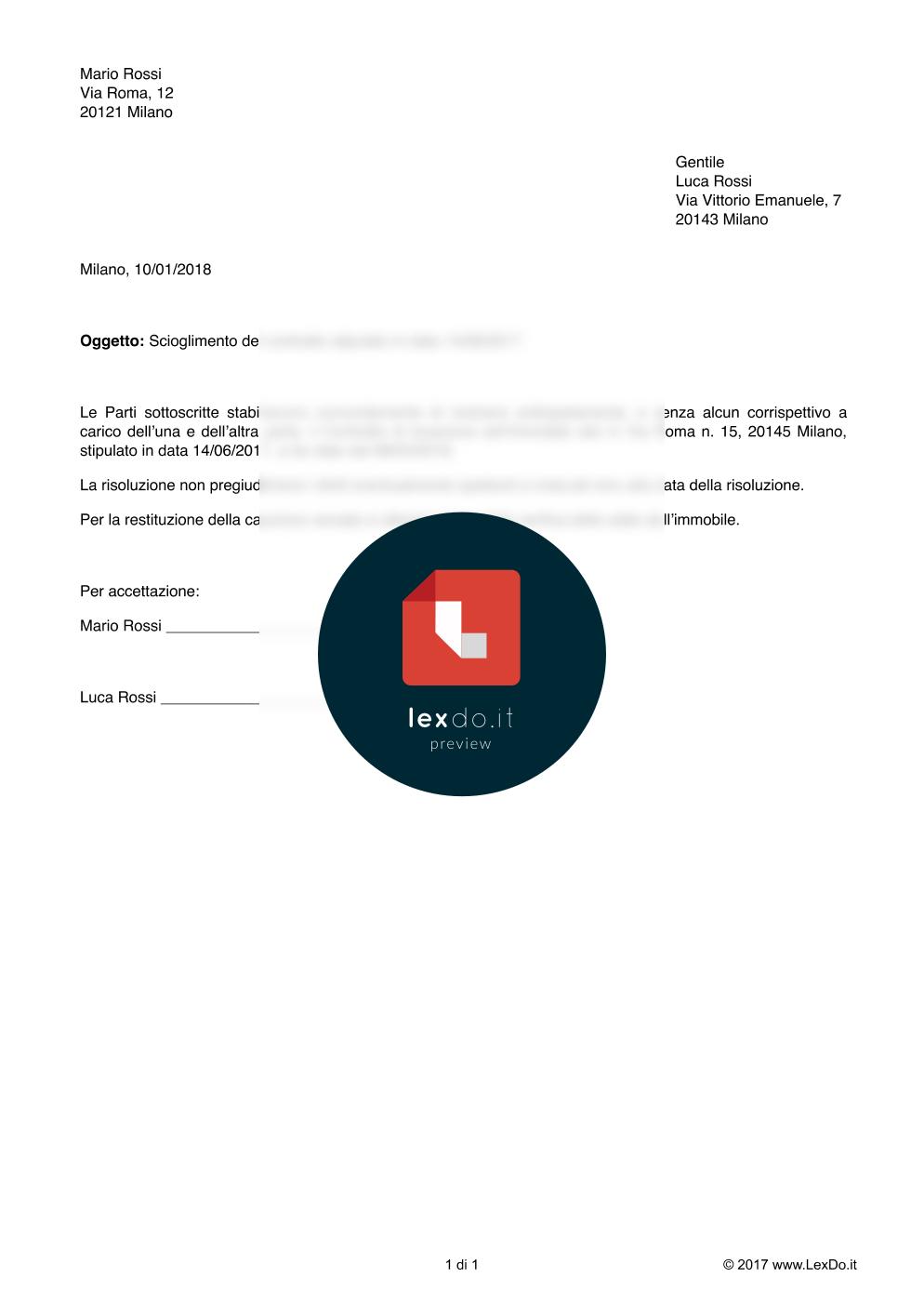 anteprima del nostro Lettera di Disdetta del Contratto di Locazione