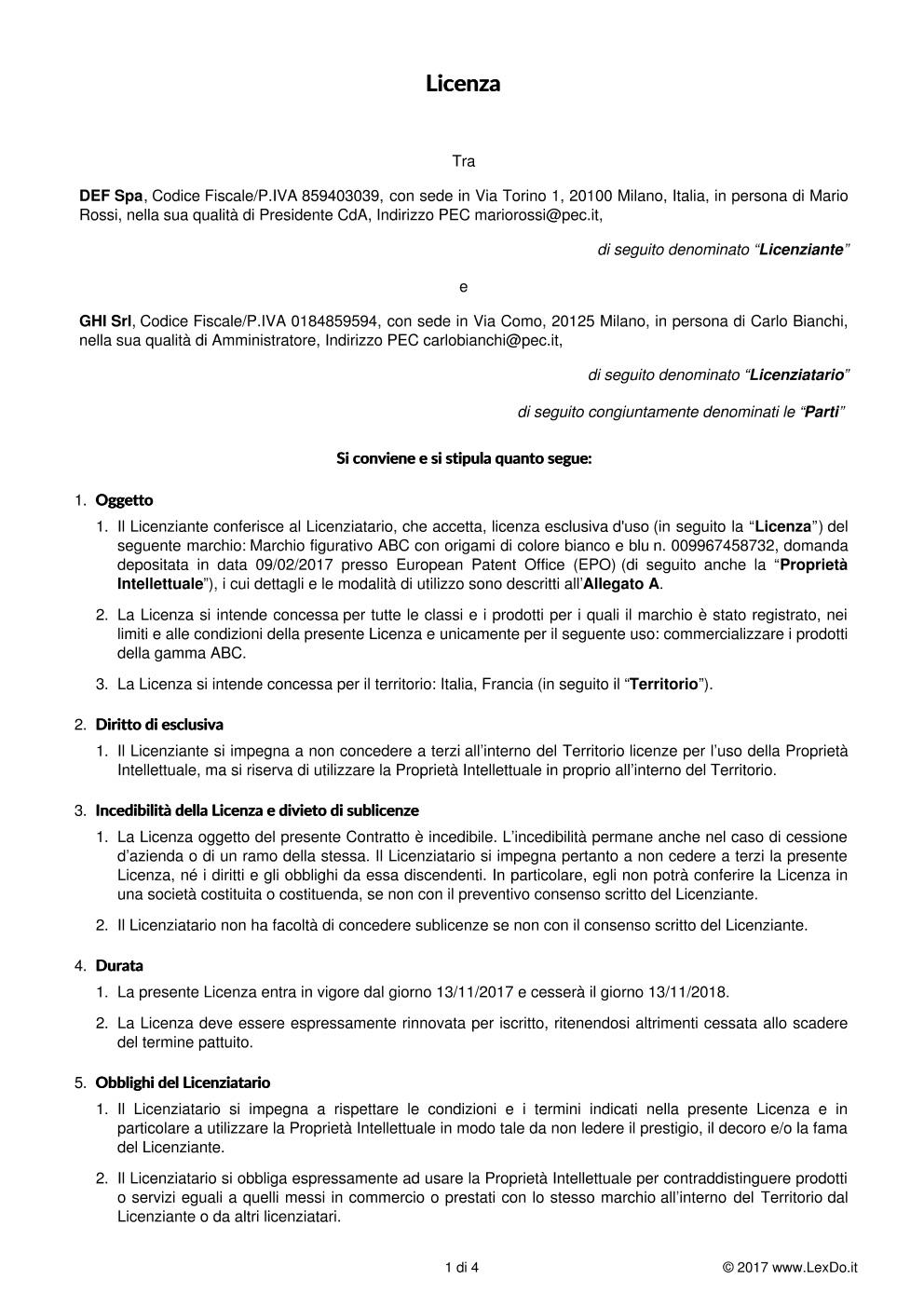 Contratto di Licenza d'Uso modello