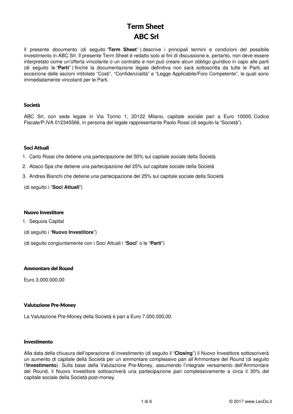 anteprima del nostro Term Sheet per Contratto di Investimento