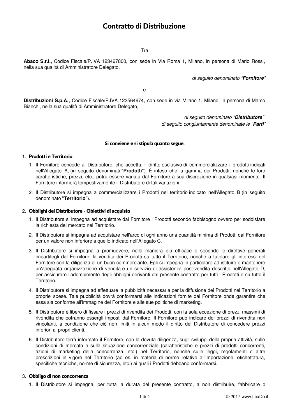 Contratto di Distribuzione Commerciale modello