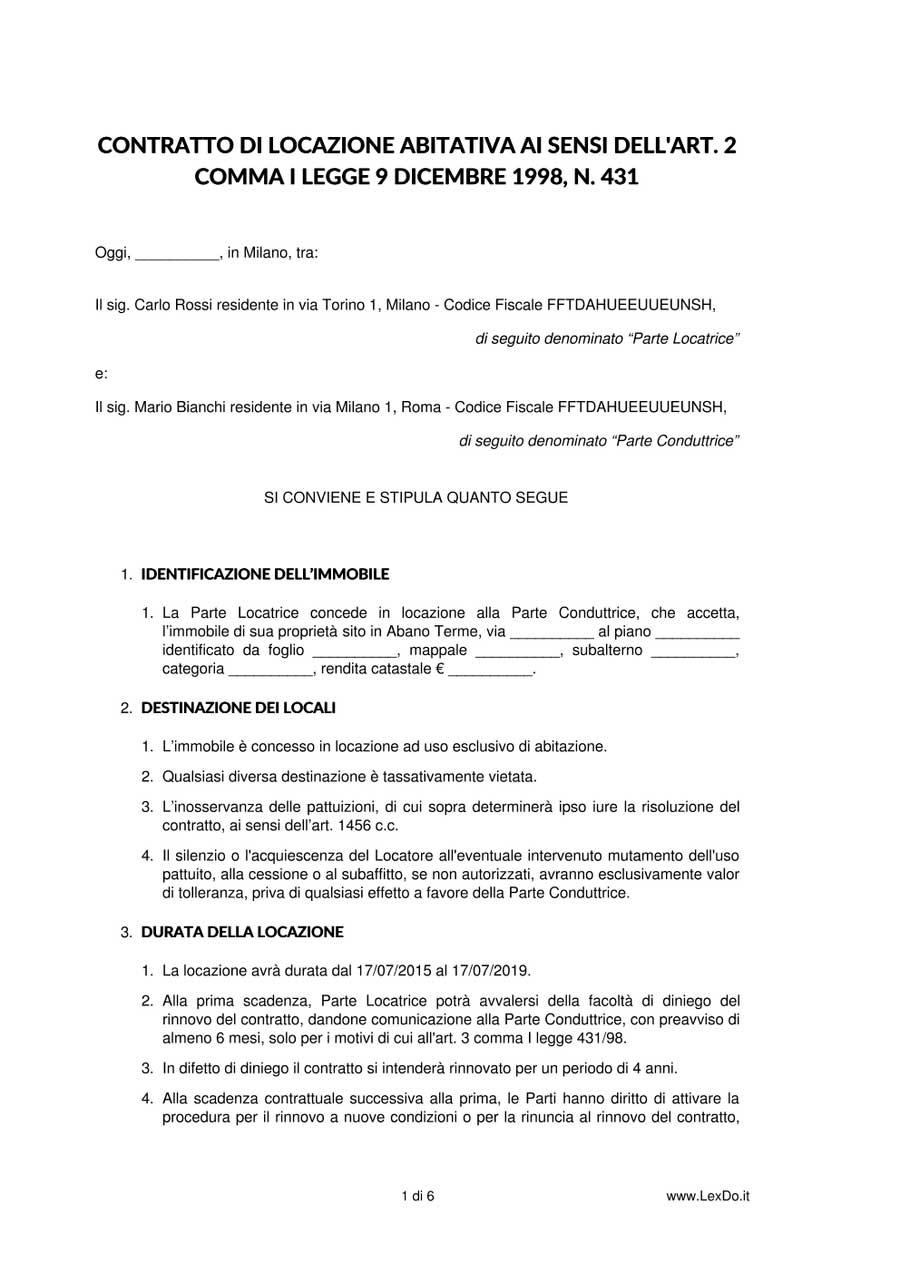 Contratto di locazione 4 4 for Contratto cedolare secca modello