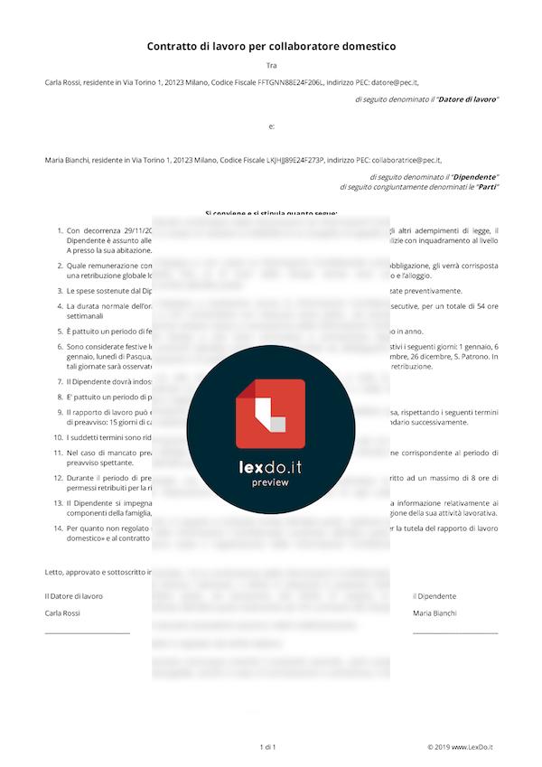 Contratto di Lavoro Domestico (Colf, Badanti) modello