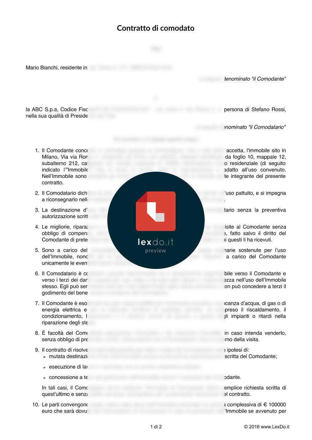 anteprima del nostro Contratto di Comodato d'Uso Gratuito