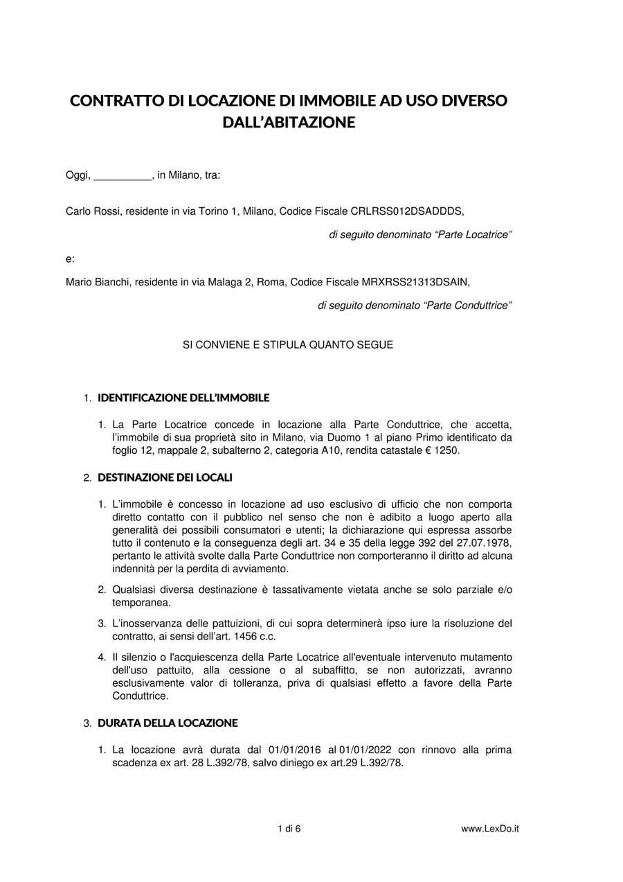 contratto di locazione commerciale transitorio
