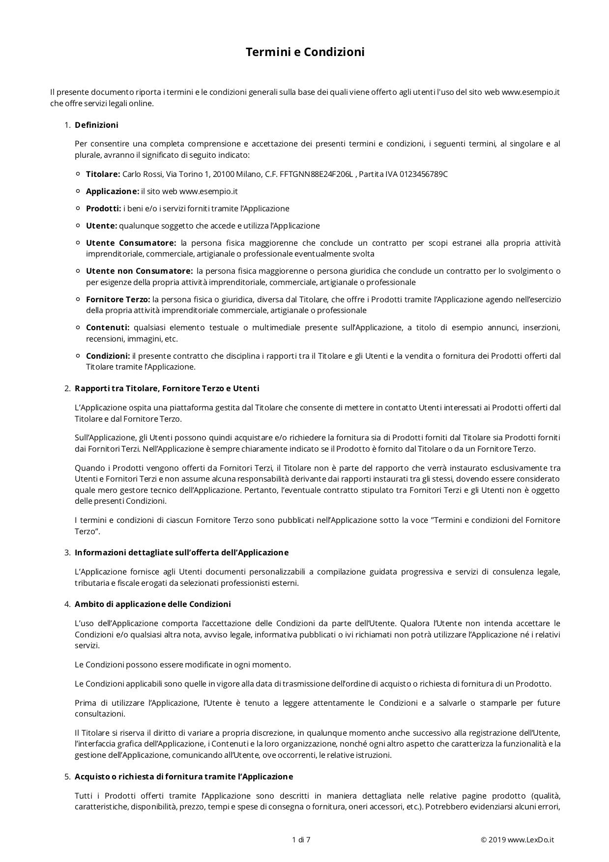 Condizioni Generali di Vendita E-Commerce modello