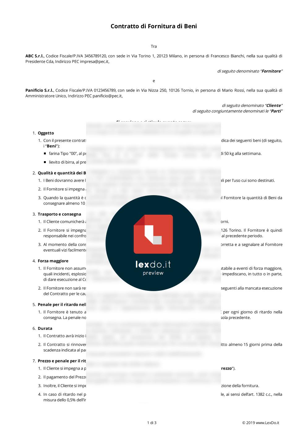Contratto di Fornitura Periodica di Beni modello