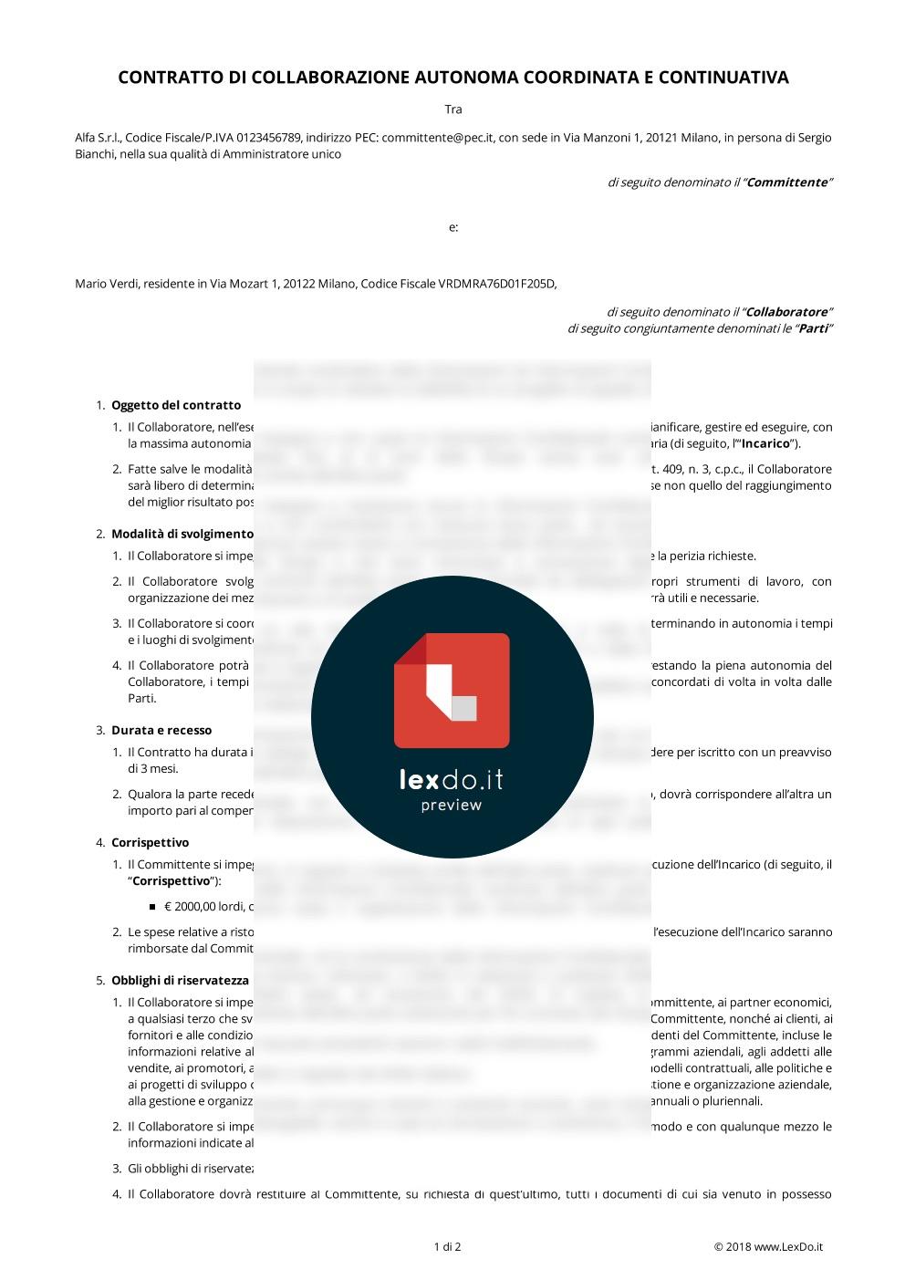 Contratto di Collaborazione Coordinata Continuativa modello