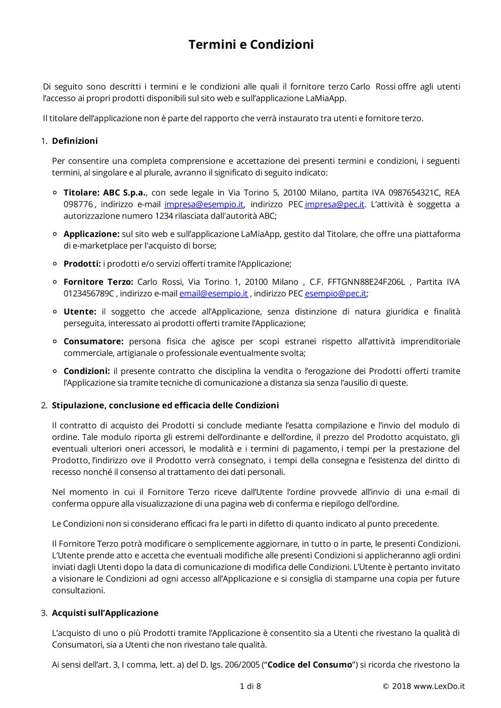 Condizioni di Vendita Fornitori Terzi E-marketplace modello
