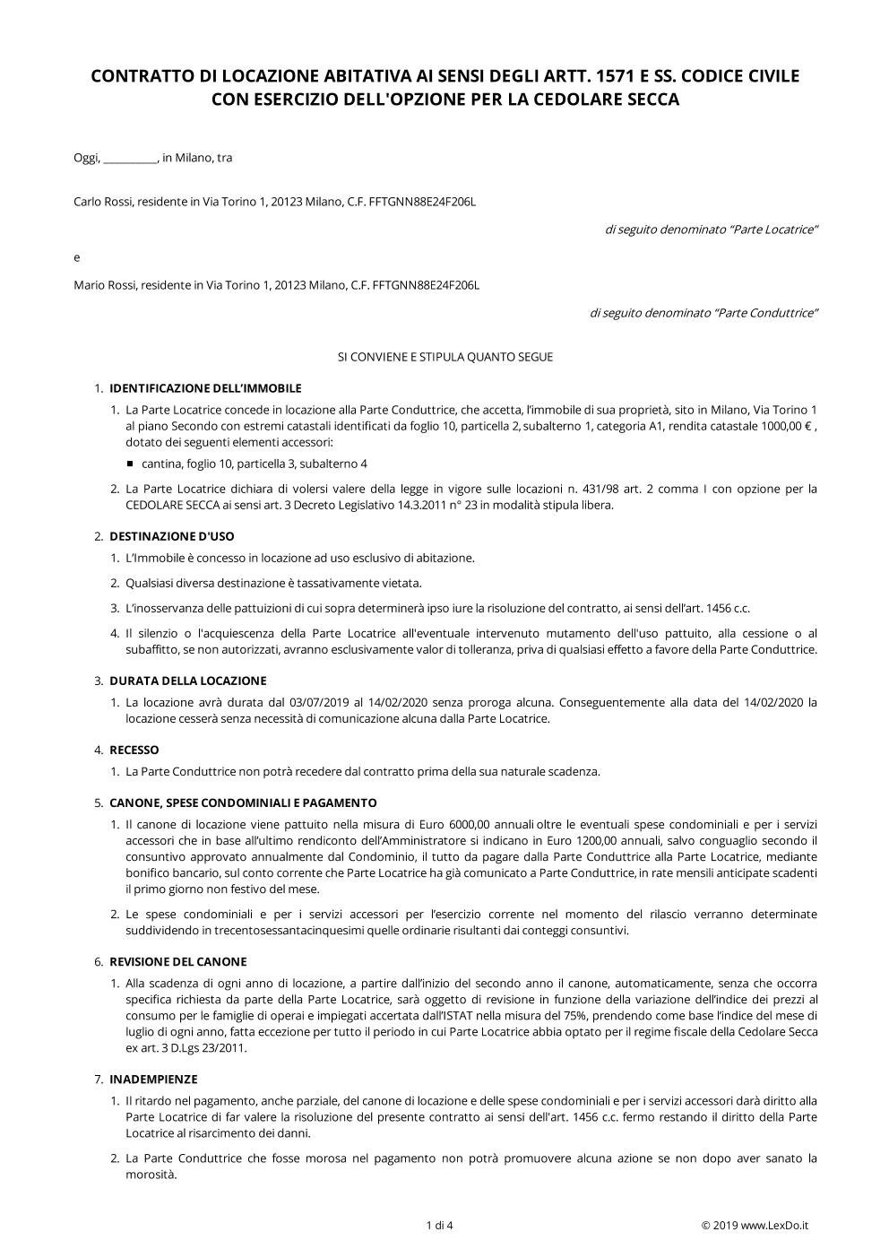 Contratto di locazione parziale scarica modello gratis for Contratto di locazione arredato